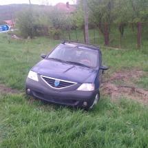 FOTO. Beat, un șofer a ieșit cu mașina în decor la Mihăești. Venea de la Polovragi…