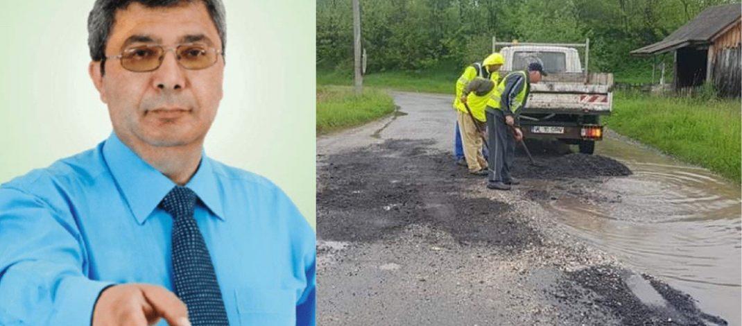 FOTO-VIDEO. Primăria Călimănești își asfaltează groapa pe ploaie. Sau și-o sapă adânc!