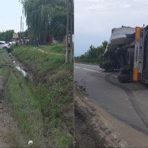 FOTO: ACCIDENT pe DN 64, la IONEȘTI. Doi răniți!