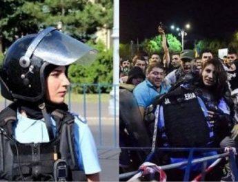 Jandarmerița bătută la protestele din 10 august 2018 se judecă cu Jandarmeria Română la Tribunalul Vâlcea