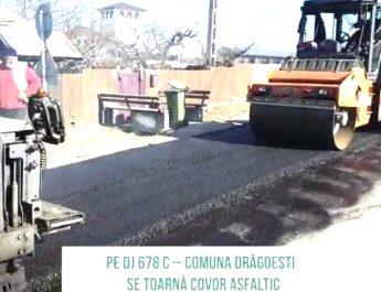 VIDEO. A început asfaltarea pe DJ 678 C, în comuna Drăgoești