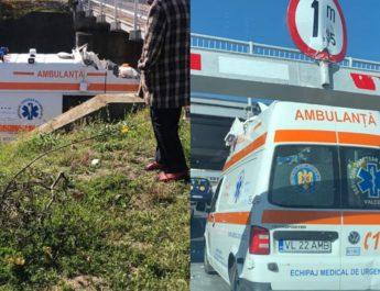 """FOTO. Încă o ambulanță a rămas """"înfiptă"""" în pasajul de pe Dacia, din Râmnicu Vâlcea"""